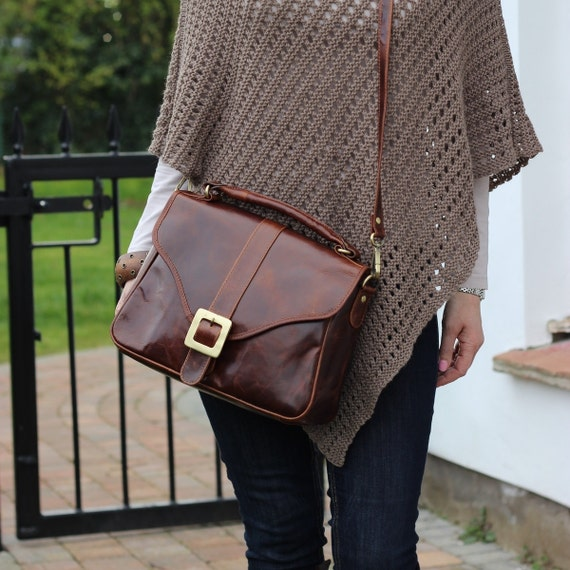 Leather Handbag Purse Satchel in Vintage Brown