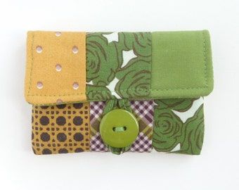 rosary pouch. catholic gift. case for rosary. confirmation first communion baptism gift mustard green patchwork fabric padded ear bud holder