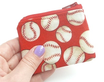 red baseball party favor boy. tiny coin pouch. small friend gift. pill hearing aid case. jewelry case travel. flash drive memory card case
