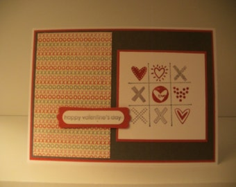 Tic Tac Toe Valentine's Day handmade greeting cards