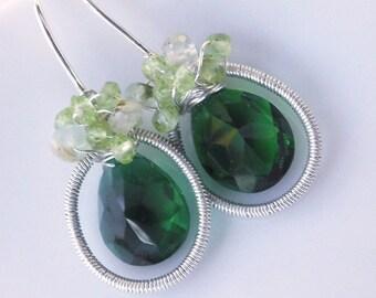Emerald Green Quartz Wire Wrapped Sterling Silver Earrings