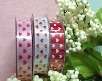 Lovely Satin Valentine Ribbon - Pink White Or Red Ribbon With Hearts
