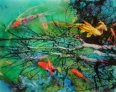 Springs reflection, Art, 16x20 inches, Fine Art photography, Koi ponds, fish ponds, wall decor, Koi art,Original art, colorful art