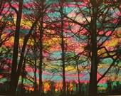 April sunrise, 16x20 inches, colorful art, original art, original art, mixed media original, Signore, spring decor