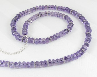 Amethyst Rondelles and Sterling Silver Adjustable Necklace
