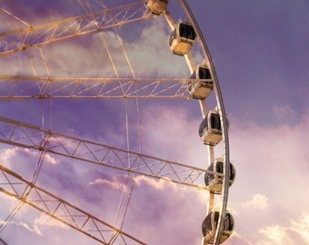 Ferris Wheel Photo Skywheel Sunset Photo Fine Art Photograph Carnival Decor Childrens Room Print Nursery Decor  Niagara Falls Ontario Canada