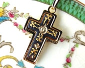 "RESERVED for Cary. Petite Damascene Cross. Spain. Dainty. Small 1"". Black. Plated Gold. Vintage. Etched."