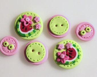 Free Ship Watermelon Handmade Polymer Clay Button Hair Bow Center Embellishment