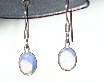 Opal sterling silver french hook earrings