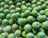 Vintage Glass Beads (24) Pea Green Beads