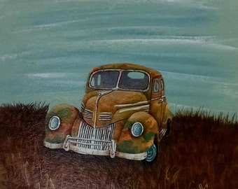 Lincoln Zephyer 1939 Rusty Car Painting
