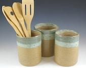Kitchen Utensil Holder,  Farmhouse Pottery Crock, Ceramic Tool Holder, Spoon Holder, Kitchen Organizing, Kitchen Decor Gift, Kitchen Storage