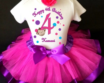 Mod Monkey Pink Blue Purple Polka dots 4th Fourth Girl Birthday Tutu Outfit Custom Personalized Name Age Party Shirt Set