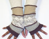 Fingerless Gloves, Arm Warmers, (Brown, Light Grey, Beige Zig Zag Pattern,Camel, Off White)