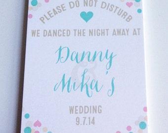 Do Not Disturb Sign, Wedding Door Hanger, Wedding Welcome Bags, Polka Dots, Wedding Favor, Destination Wedding, Personalized Wedding Sign