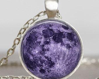 Purple lavender moon necklace, lavender full moon jewelry, moon pendant, lunar pendant, moon jewelry , space pendant