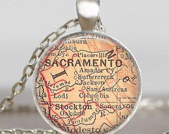 Sacramento map necklace, sacramento  pendant, sacramento map jewelry , keepsake map charm