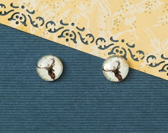 Sale - 10pcs handmade deer head round clear glass dome cabochons 12mm (12-0332)