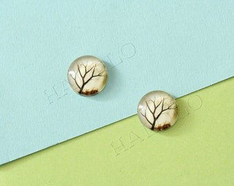 Sale - 10pcs handmade tree round clear glass dome cabochons 12mm (12-0138)
