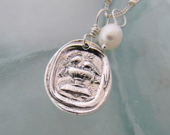 Pliny's Doves Wax Seal Necklace in Silver with Freshwater Pearl
