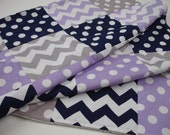 Lavender Navy and Gray Chevrons and Dots Patchwork Minky Blanket MADE TO ORDER No Batting