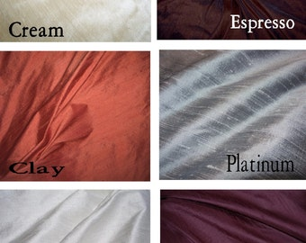 Silk Dupioni Drape (Solid or Stripe)  with Lining - You pick the color and style