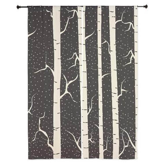 Curtains Ideas birch tree curtains : Birch Tree Design Curtains 84 in Black and Tan