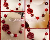 Beautiful Red Rose Chunky Bead girls Necklace shabby