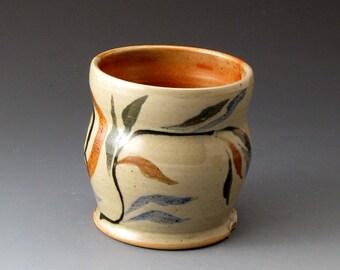 Tea Bowl with Sprigs and Circle Motif - Handmade Ceramic Tea Cup