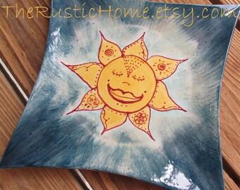 Ready to Ship Celestial sunshine pottery plate ready to ship food safe pottery sun elements plate