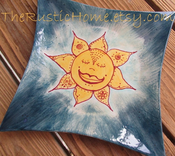 Ready to Ship Celestial sunshine pottery plate ready to ship food safe pottery sun elements plate