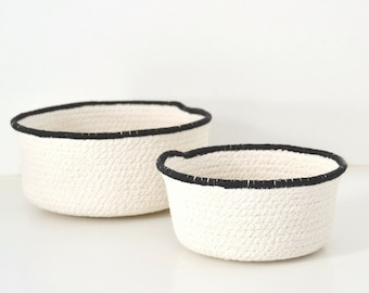 Scandinavian style cotton cord bowl set of two with black trim