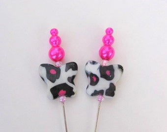 Pink And Black Leopard Print Butterfly Decorative Stick Pins - Set of 2