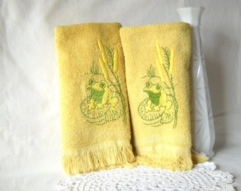 Vintage Hand Towels Mustard Yellow Frog Towels