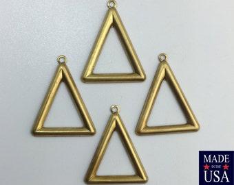 1 Loop Raw Brass Open Triangle Hoop Pendant  with Loop (6) mtl418B