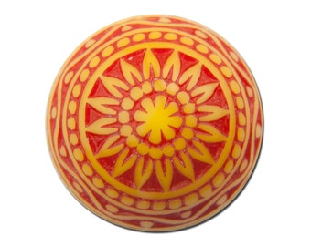 Vintage Etched Mosaic Red Orange and Yellow Cabochons 12mm cab827A