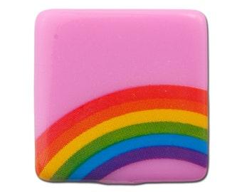 Vintage West German Pink Rainbow Cabochons 20mm (6) cab437