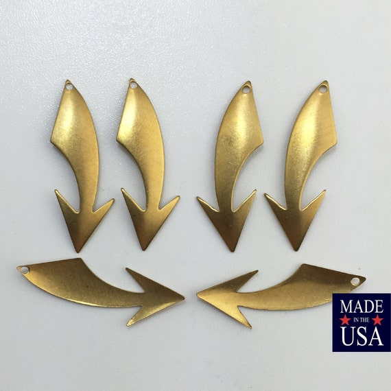 Raw Brass Shooting Arrow Left Right Stamping Pendants Drops Small 33x12mm (6) mtl019A