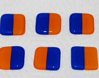 6 Blue and Orange Stripe Handmade Fused Glass Magnets