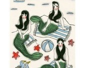 Mermaid Wall Art Print -  A Day Out - 4 X 6 Print