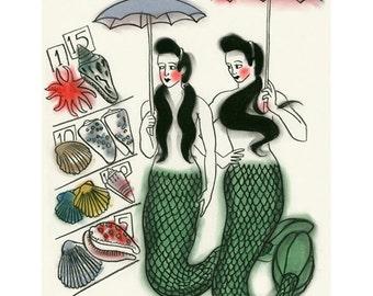 Mermaids - Mermaid decor - Mermaid Wall Art Sunday Morning Markets  -   4 X 6 mermaids print - 4 for 3 SALE