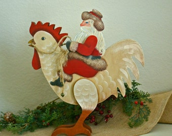 """Folk Art ~ """"Santa's Rooster Ride""""~ cut out of wood, stands freely~Designed and painted by Artist"""