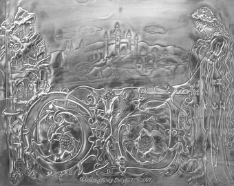 Fairytale wedding picture in pewter.