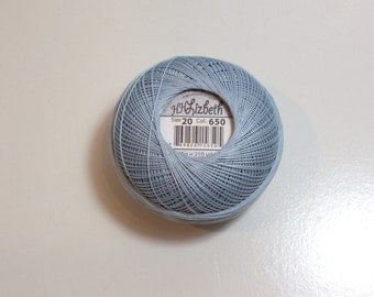 Tatting Thread, Lizbeth Size 20 Cotton Crochet Thread, Light Denim Blue, Color number 650, Blue Thread