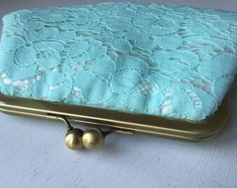 Seafoam Pale Cotton Lace Clutch