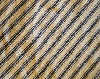 Coffee Dyed Feather Proof Ticking | ACA Blue Ticking Fabric Coffee Dyed | Cotton Ticking Cloth  Hand Dyed | 1 Yard