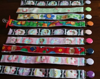 CuteBaby Pacifier Clips in assorted Fabrics  by RebsRags