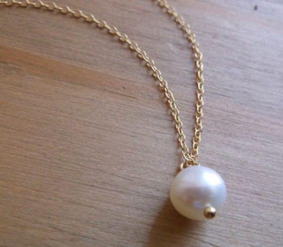 Ivory Grade A Freshwater Pearl on 22k Gold Vermeil Pendant, Bridal Jewellery, Boho Jewellery