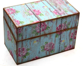 Rustic Recipe Box Wedding Guest Book Blue Barn Wood with Pink Flowers Fits 4x6 Cards Ready To Ship
