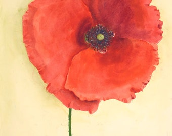 RED POPPY Watercolor Painting